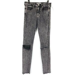 High Waist Skinny Raw Hem Jeans Black Rips